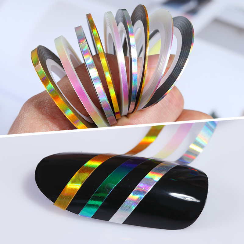 3 Rolls Holographic Nail Striping Tapes 1mm 2mm 3mm Gold Silver Holo Transparent Laser Adhesive Line Decal DIY Styling Sticker 14 rolls glitter scrub nail art striping tape line sticker tips diy mixed colors self adhesive decal tools manicure 1mm 2mm 3mm