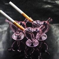 ורוד עיצוב חדש חכם מיני זכוכית לב Bubblers טיפים טיפים מסנן סיגריה מסנן עישון צנרת מים סיגריות זכוכית