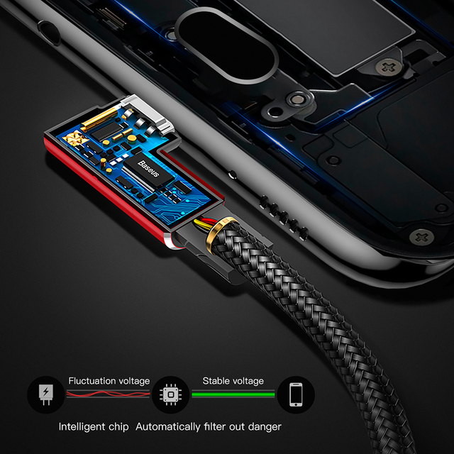 Baseus USB Type C Cable 90 Degree for xiaomi redmi note 7 USB-C Cable for samsung galaxy s9 plus Playing Game Charging USB Cable Mobile Phone Cables