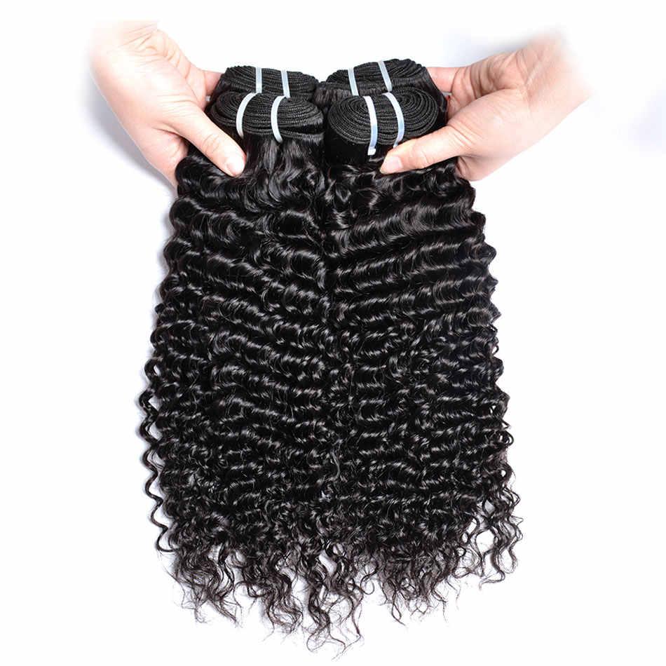Gem перуанский Вьющиеся ткань натуральные волосы Связки с закрытием 3 шт. перуанские пучки волос с бесплатной Часть Закрытие Глубокая вьющихся волос, плетение