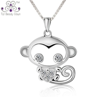 Real 925 Sterling Silver Lovely Monkey King White Cubic Zirconia Pendant Necklaces For Woman Young Lady