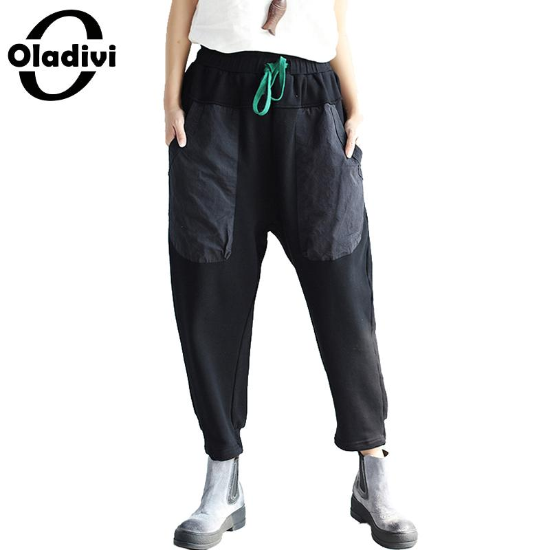 Oladivi Brand Women's   Pants   Big Size Apparel Ladies Casual Pocket Trousers Elastic Waist Loose   Capris   Girl Pantalone Harem   Pants