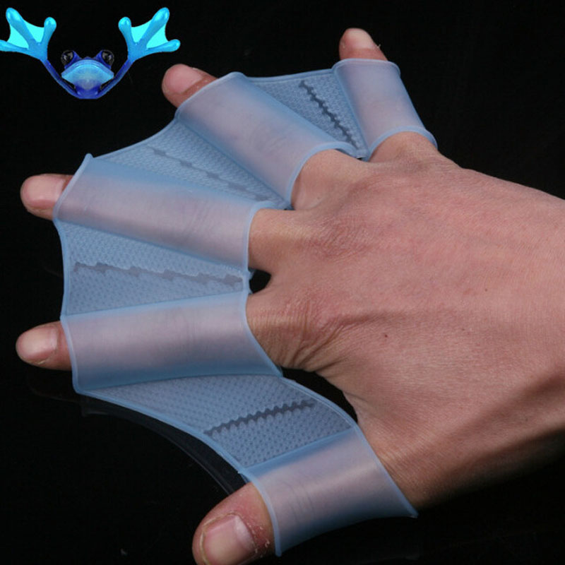 1 Pair Children Adult Silicone Hand Paddle Flippers Swimming Webbed Gloves Dive