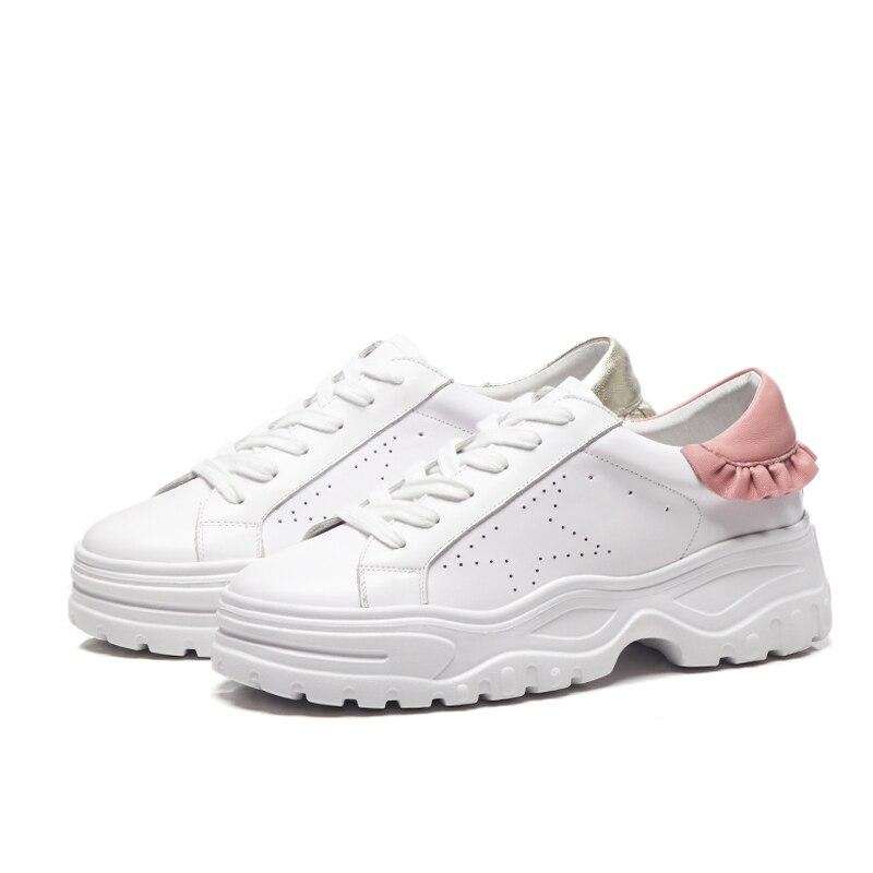 Cruz Gloden Cuero White Genuino Volantes Arden Atado Zapatos Pink Primavera Casual 2018 white Plataforma Mocasines Otoño Blancos Furtado Plana 77Bpawq4