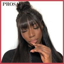 Один кусок прямые Hari Клип Ins бразильские человеческие волосы тупые челки клип в человеческих волос для наращивания натуральный черный Virgin Prosa