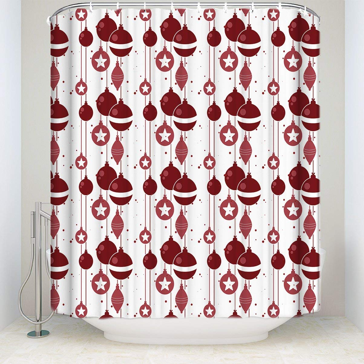 Us 13 99 45 Off Merry Christmas Shower Curtain Christmas Celebration Ornaments Red Digital Print Fabric Bathroom Decor With Hooks In Shower