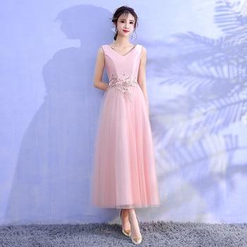 Pink Colour Sleeveless  Embroidery Midi Dress  Bridesmaid Dresses  Wedding Dresses  Satin Dress