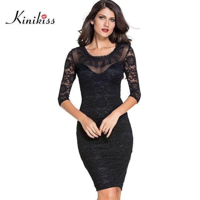 Kinikiss 2017 черный элегантный офис леди dress стиль кружева тонкий женщины bodycon dress спинки оболочки бизнес dress sexy club dress