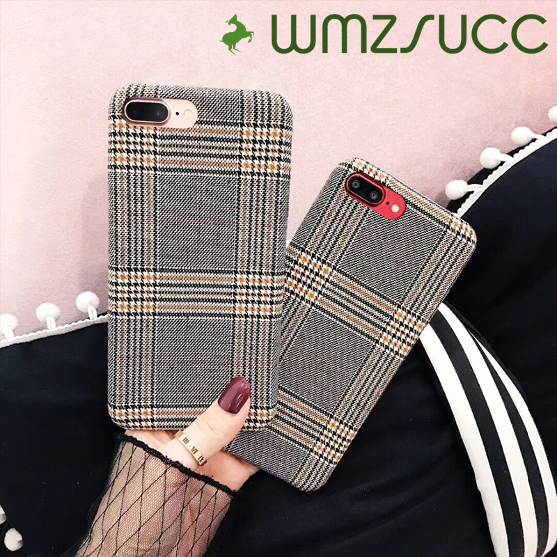 WMZSUCC Fashion British Style Wove Check cases for iPhone 8 Case For Apple iphone 7 6SPlus 8 plus/X Back Cover Capa Fundas Coque ...