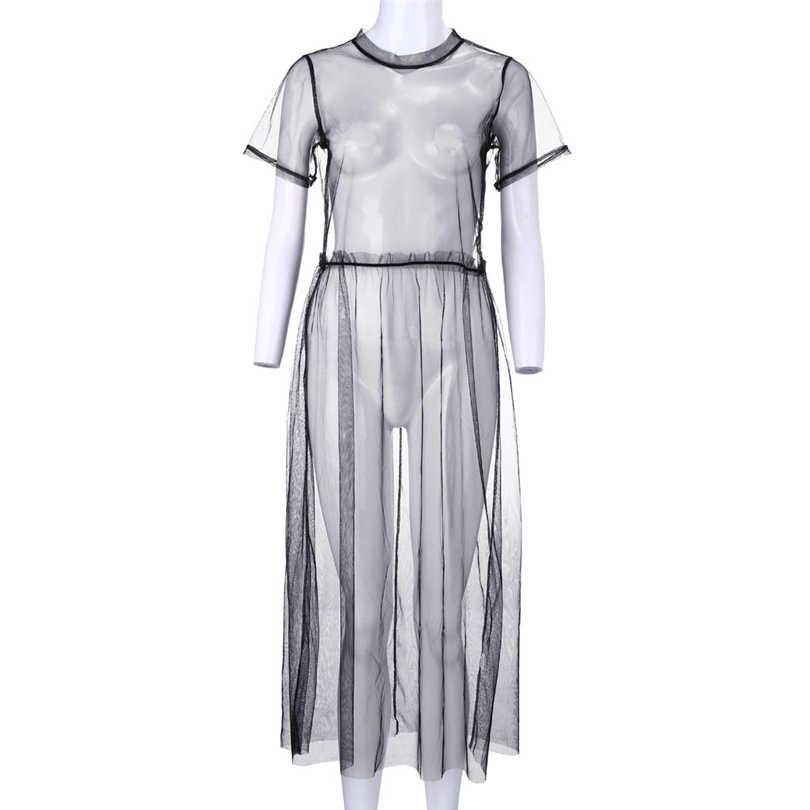 Lecopike 夏女性のセクシーなメッシュドレス黒中空アウトクラブ視点ネットドレス女性女の子服サンドレスカバーアップ A20