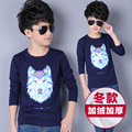 Sunshine Boys Bottoming Shirts Long Sleeve Plus Velvet T-Shirts For Boys Children Clothing 5 to14 Years Autumn Winter Kids Tops