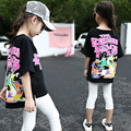 Korean Cartoon T-shirt Girls Summer Irregular Children Kids Clothing 2 Colour