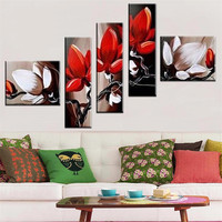 High Quality Gifts 5 Pieces Modern Hand Painted Flowers Abstract Oil Painting On Canvas Wall Art