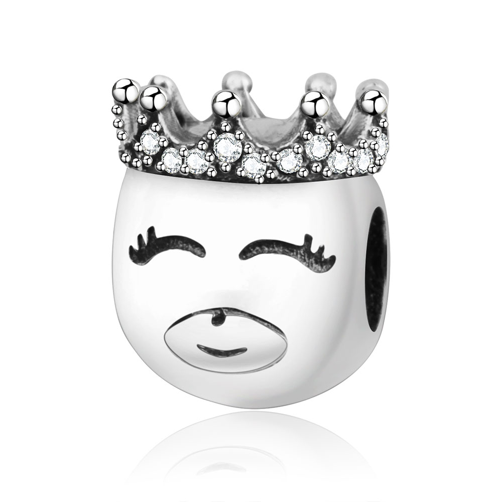 2018 Newest 925 Sterling Silver King Charms Beads With Crown Fits Original Pandora Charm Bracelet DIY Jewelry Making Berloque