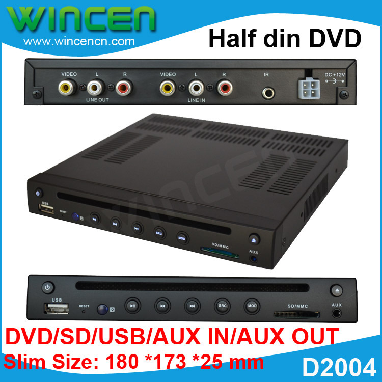 Metade din Car DVD Player com DVD SD USB AUX IN AUX OUT Tamanho Pequeno