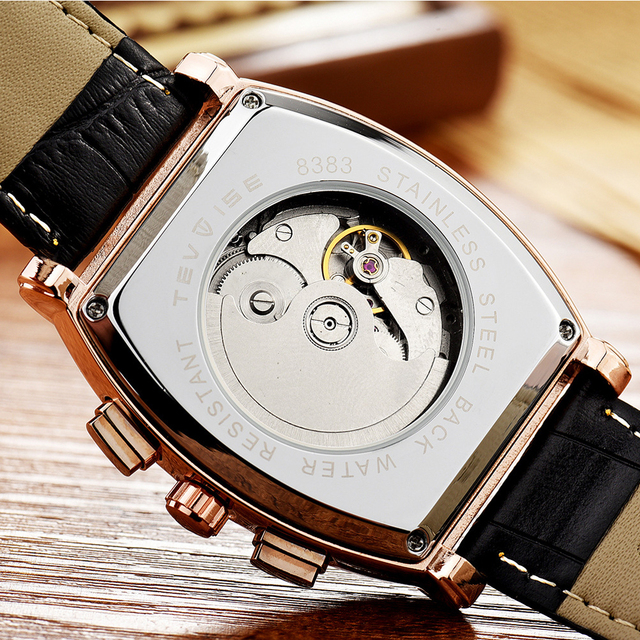 Mechanical Watches Men Waterproof Business Male Wrist Watch Automatic TEVISE Square clock Relogio Automatico Masculino Gift Box