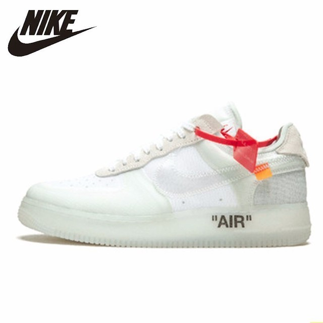 Nike Air Force 1 Low Off White Men's Skateboarding Shoes Sports Air Cushion Comfortble Breathable Sneakers # AO4606-100