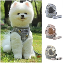 Reflective  Harness for Dog Cat Harnesses Leash Breathable Plaid Adjustable Small Vest XS -XL