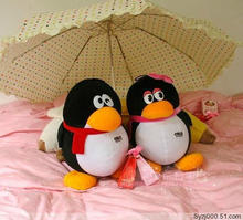 a pair of cute plush qq penguin toys lovely QQ girl and QQ boy dolls gift about 30cm