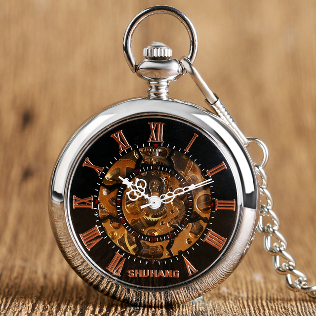 2016 New Hand Winding Mechanical Pocket Watch Luxury Open Face Roman Numbers Dial Men Women Gift Relogio De Bolso