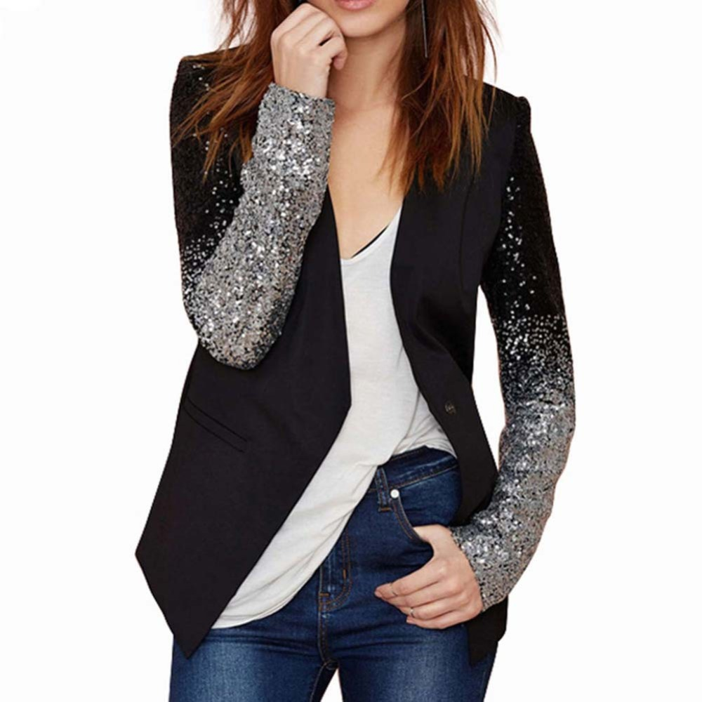 2018 Autumn Women Blazer Female Work Suit Spring Long Sleeve Lapel Silver Black Sequins Elegant Ladies Feminino Plus Size