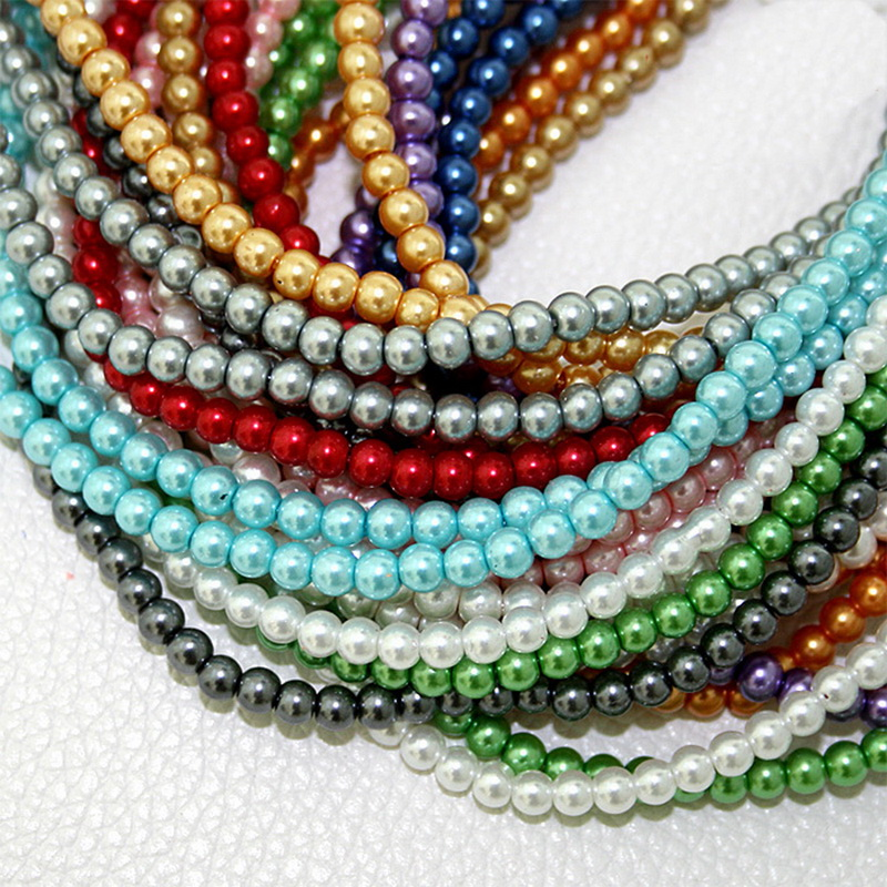 100pcs 4mm Glass Beads Round Loose Spacer Pearl Plastic Beads For ...