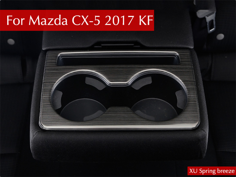 For Mazda CX-5 CX5 2017 2018 KF Car Chrome Rear Seat Drink Cup Holder Cover Sticker Bezel Surround Frame Matte Brushed for mazda cx 5 cx5 2017 2018 kf 2nd gen car co pilot copilot stroage glove box handle frame cover stickers car styling