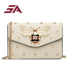 a9813e0a9874bc SA Bags for Women 2018 Luxury Rhinestones Bee Purses Handbag Small Chain  Crossbody Bag Ladies Evening