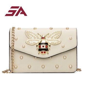 SA 2018 Women Luxury Rhinestones Bee Purses Handbag Small Chain Crossbody Bag For Ladies Evening Party Bag flap bag Bolsa handbag