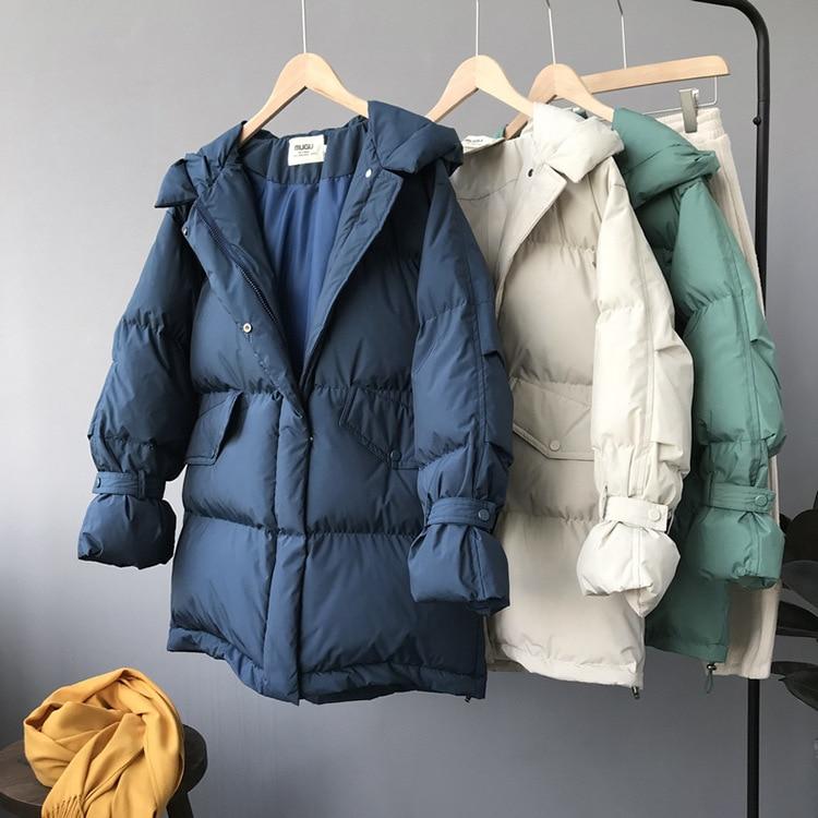 Para Couleur De Manteau Capuche D'hiver Beige Longues À Manches Parkas Mujer vert Veste 2018 Solides Ropa Rembourré Invierno Femmes bleu wgFEqzdSwx