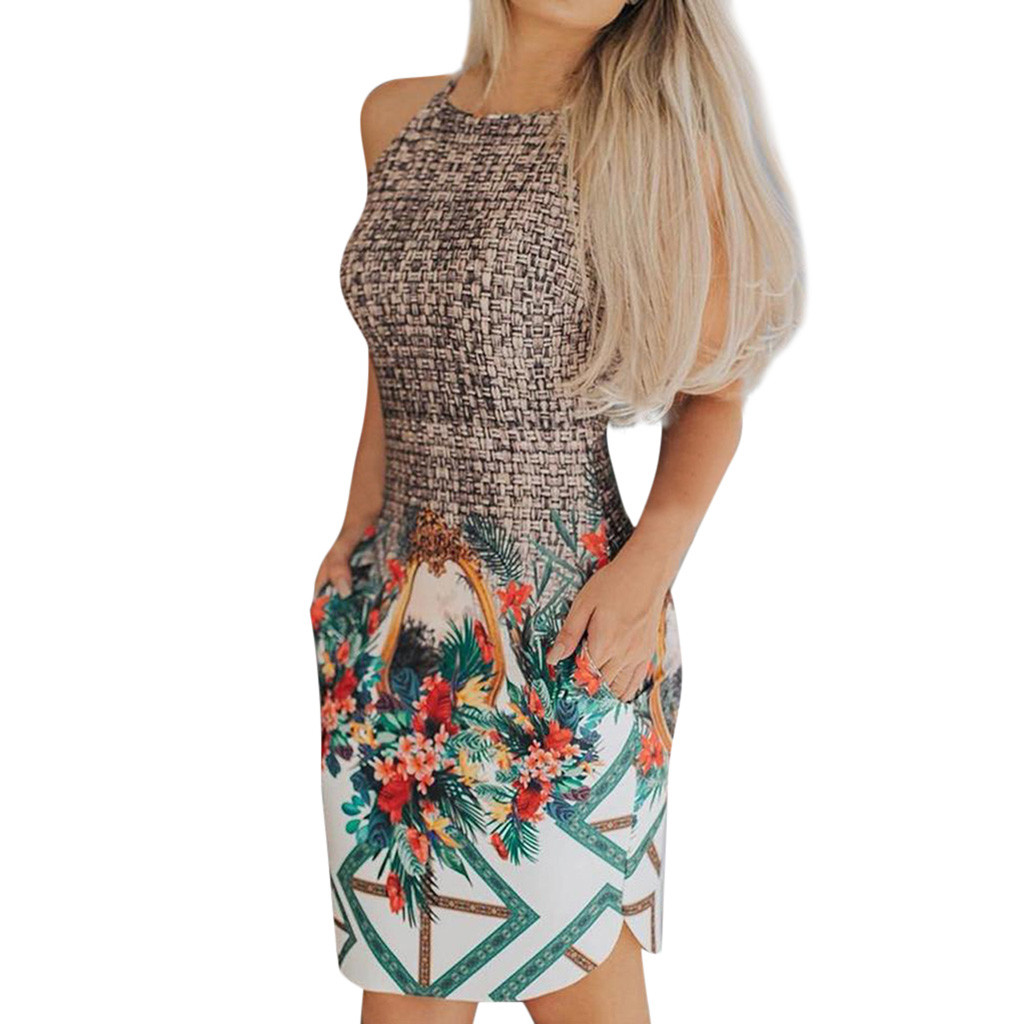 Women's Bandage <font><b>Bodycon</b></font> Printed Sleeveless Evening Party Patchwork Mini <font><b>Dress</b></font> Women Sheath <font><b>Sexy</b></font> O-Neck Mini <font><b>Dress</b></font> G0403#20 image