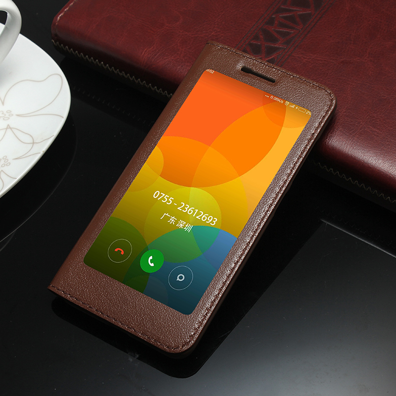 imágenes para Para el caso de Xiaomi mi5 mi 5 Pro Primera Cuero Genuino de Lujo Cubierta Del Tirón Del Estilo de la vendimia Amplia Ventana Hacer Clic Fácilmente Teléfono Bolsa de Coque