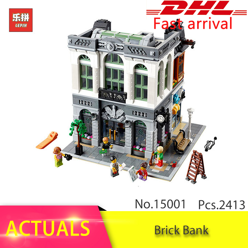 IN Stock Free Shipping Lepin 15001 2413Pcs City Brick Bank Model Building Kits Blocks Brick DIY Toys Compatible 10251 Gifts lepin 15018 3196pcs creator city series sunshine hotel model building kits brick toy compatible christmas gifts