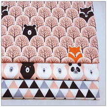 40cm 50cm, 3 pcs / lot, New Jungle Bear , Cotton Twill Fabric, Patchwork Cloth, DIY Sewing Quilting Quarters Fat Material for