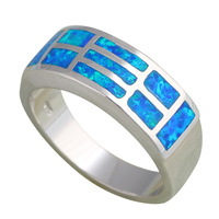 Royal Anniversary Gifts Design Blue Fire Opal 925 Silver Rings Fashion Jewelry USA Size 6 5