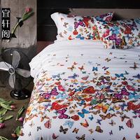 3D бабочка постельных принадлежностей королева размер пододеяльник покрывало кашне комплект одеяло постельное белье 100% хлопок 4 шт.