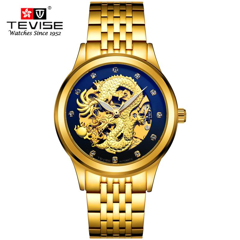 Men Watches Luxury Dress Gold Watch Men 3D China Dragon Skeleton Rhinestones Mechanical wristwatches TEVISE Brand