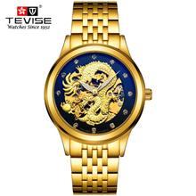 Relojes de los hombres vestido reloj de oro los hombres de lujo 3d de china dragón esqueleto piedras relojes de pulsera mecánicos tevise marca reloj caja de regalo