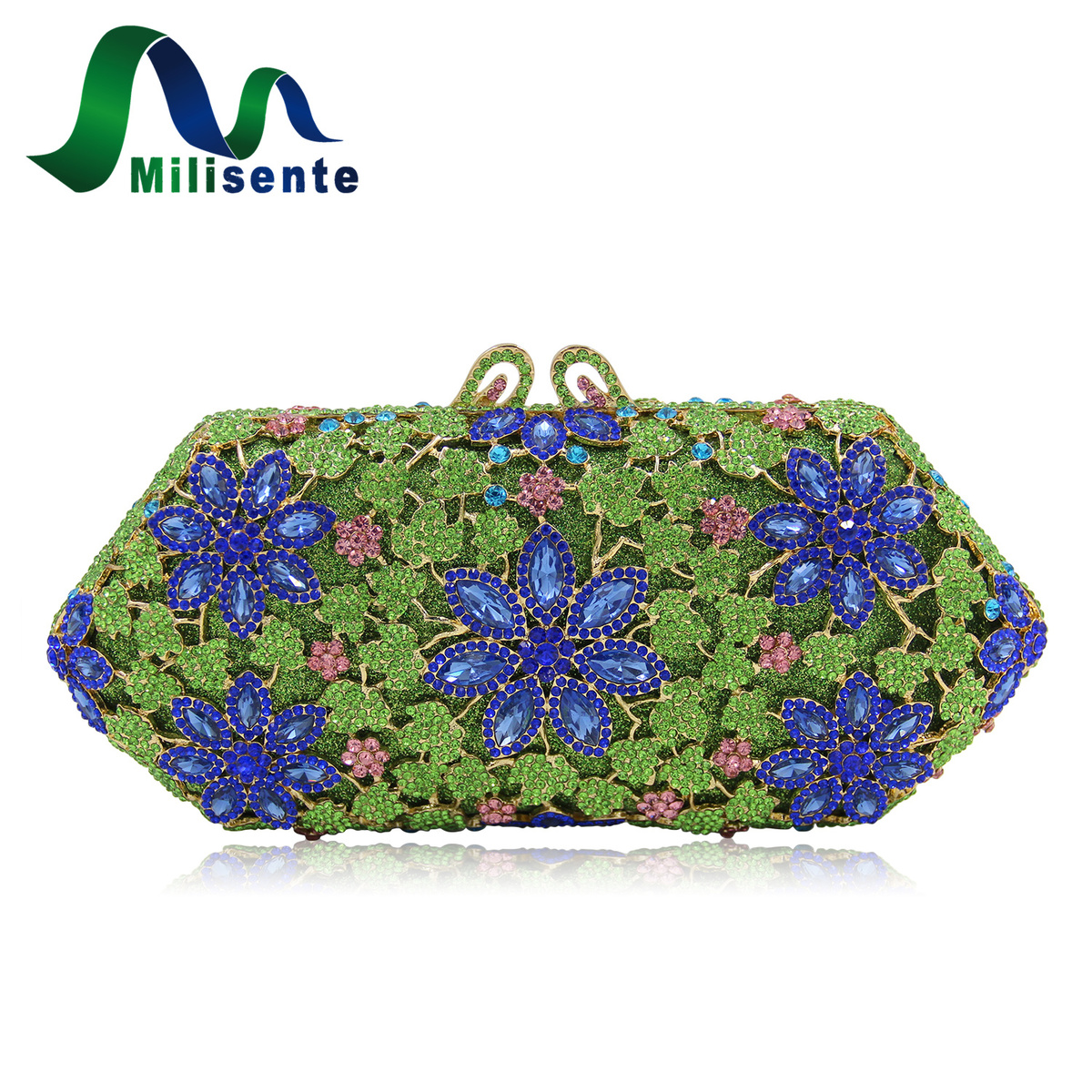 Milisente Luxury Floral Handbag Beautiful Hollow Style Crystal Wedding Hardcase Evening Clutch Purse Lady Party Bag milisente high quality luxury crystal evening bag women wedding purses lady party clutch handbag green blue gold white