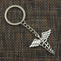 Fashion 30mm Key Ring Metal Key Chain Keychain Jewelry Antique Silver Bronze Plated caduceus medical symbol md 40x40mm Pendant 2