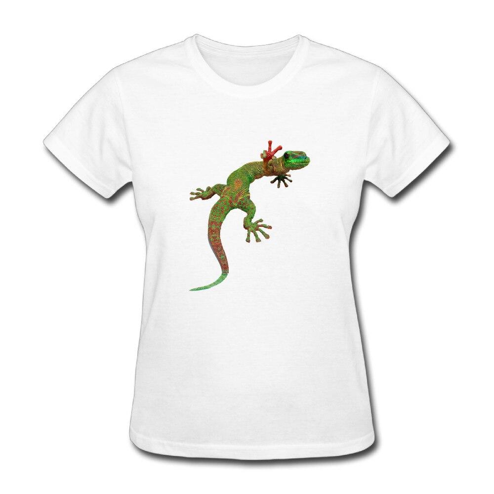 Gecko Customized Cotton Printed O-Neck Short Sleeve White T Shirt Woman 2017 Roupas