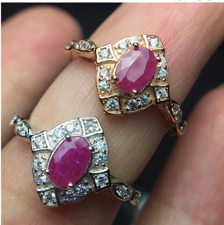все цены на Natural ruby ring Free shipping Natural and real ruby 925 sterling silver Gem Size 4*6mm онлайн