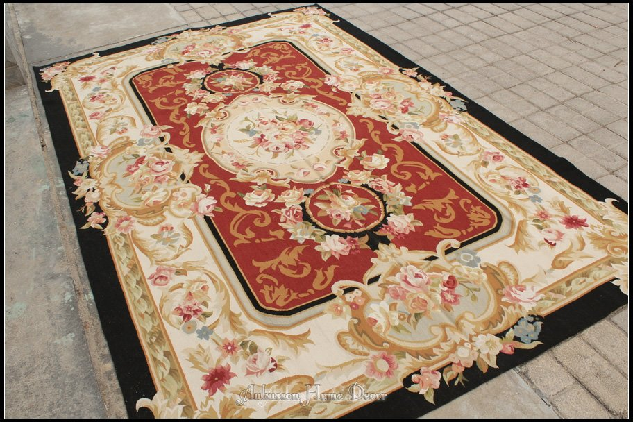 6 X9 Hand Woven Aubusson Area Rug Antique French Country