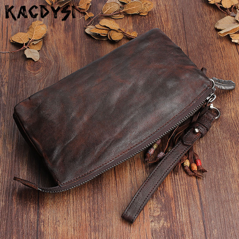 2019 Design Top Layer Genuine Sheepskin Leather Long Mens Wallets Retro Purse Handmade Wallet Card Holder