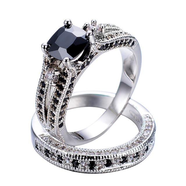 Fashion Princess Cut Black Stone Ring Set Women White Zircon Gold Filled Jewelry Wedding Engagement Couple Rings anel RW1222