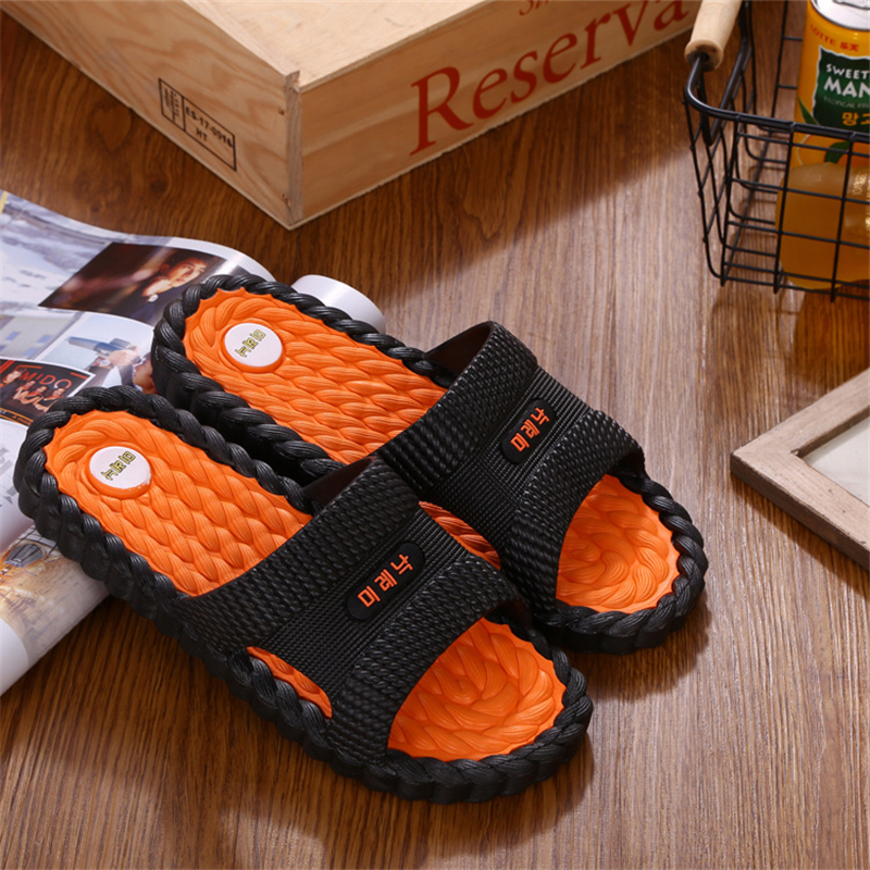 DAOKFPO Hot Beach Shoes Casual Men Sandals Slippers Summer Outdoor Flip Flops Flats Non-slip Bathroom Home Massage Slippers T-06