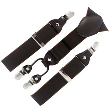 Brown & Coffee 4 clips Genuine Leather Suspenders Engagment Braces for women Y-back Belt Elastic Size 3.5*110cm QBD5403