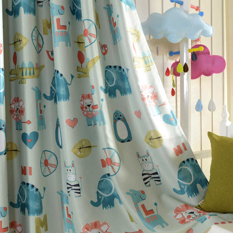 Budloom modern style animal curtains for bedroom double-side printed curtains for living room cartoon kids room window drapes
