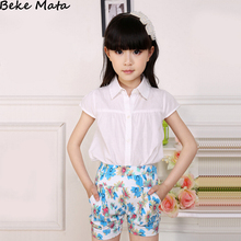 White Girls Blouses 2016 Summer Short Sleeve Blouses For Girls Kids Children Girls Blouses Solid School Girl Blouses Clothing