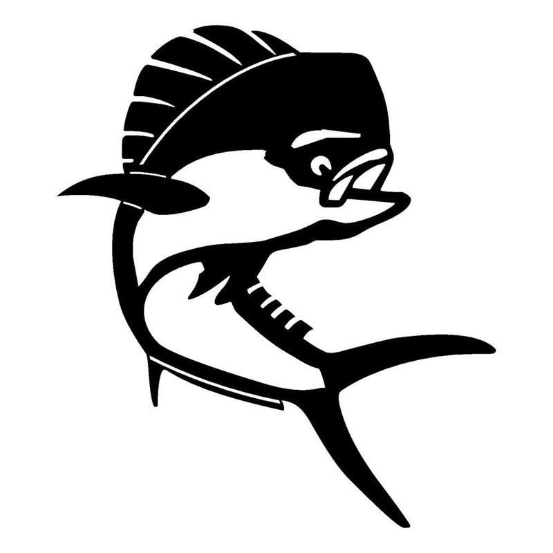 13.1*15.2CM Dolphin Mahi Mahi Vinyl Fishing Decal Car Stickers Black Silver C2-0588 car